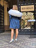Джинсовая куртка парка с натуральным мехом ламы на капюшоне, фото 6