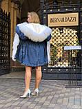 Джинсовая куртка парка с натуральным мехом ламы на капюшоне, фото 5