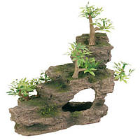 Декорация для аквариума Trixie Каменная лестница с растениями 19,5х9,5х14,5 см
