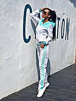 Женский стильный спортивный костюм FLY \ бирюза c белым