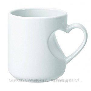Чашка сублимационная БЕЛАЯ РУЧКА СЕРДЦЕ 330 мл