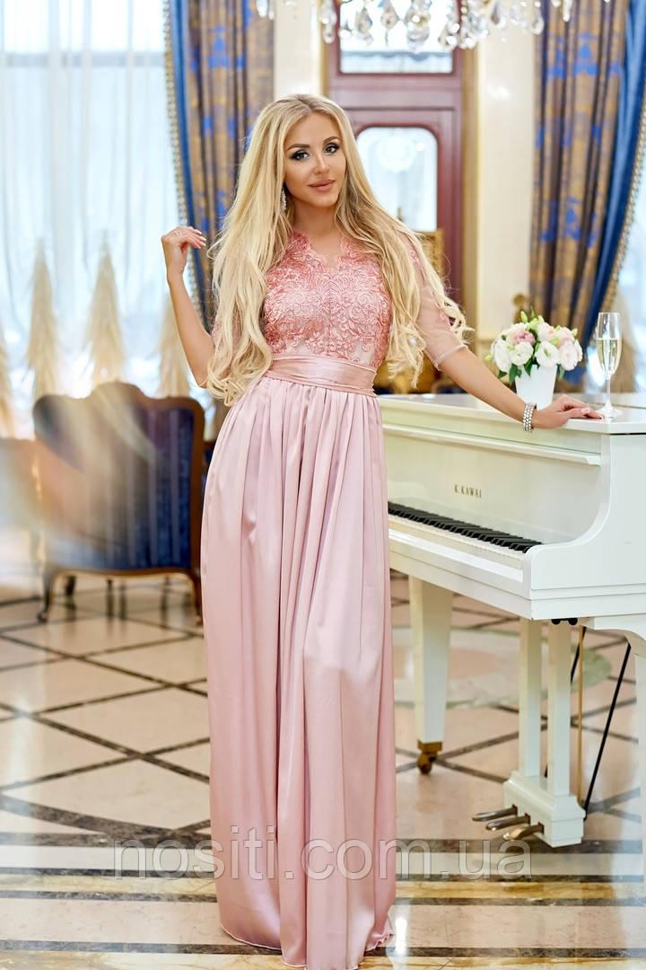 Платье из шелка Армани с гипюровой отделкой