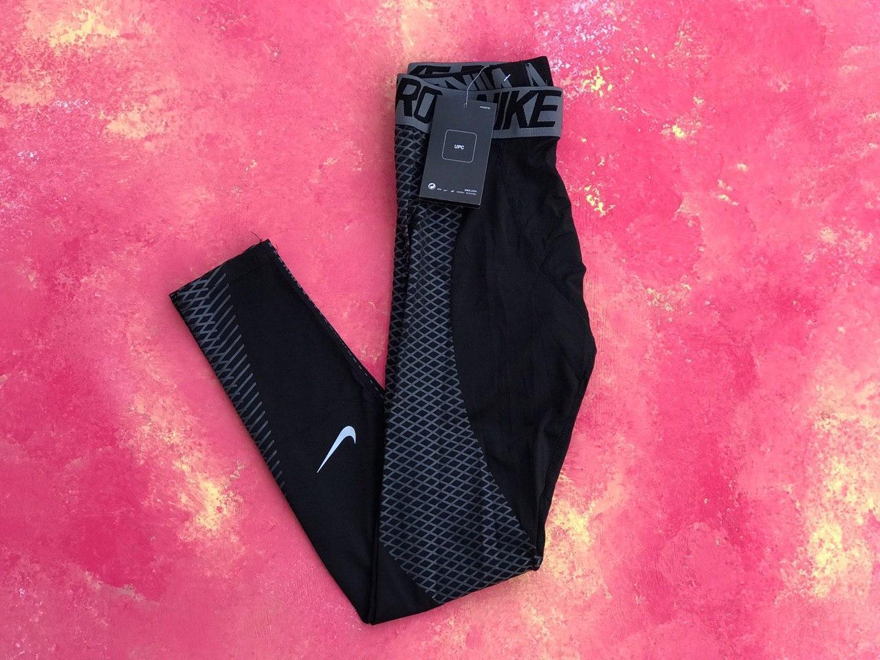 Термо-штаны черные с синим Nike Pro 2019 компрессионные штаны мужские термобелье