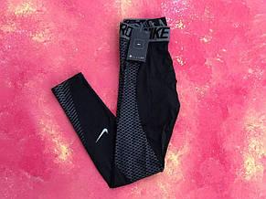 Термо-штаны черные с синим Nike Pro 2019 компрессионные штаны мужские термобелье, фото 2