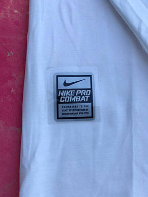 Термо-кофта чоловіча біла Nike Pro Combat Core Compression термобілизна для тренувань, фото 3