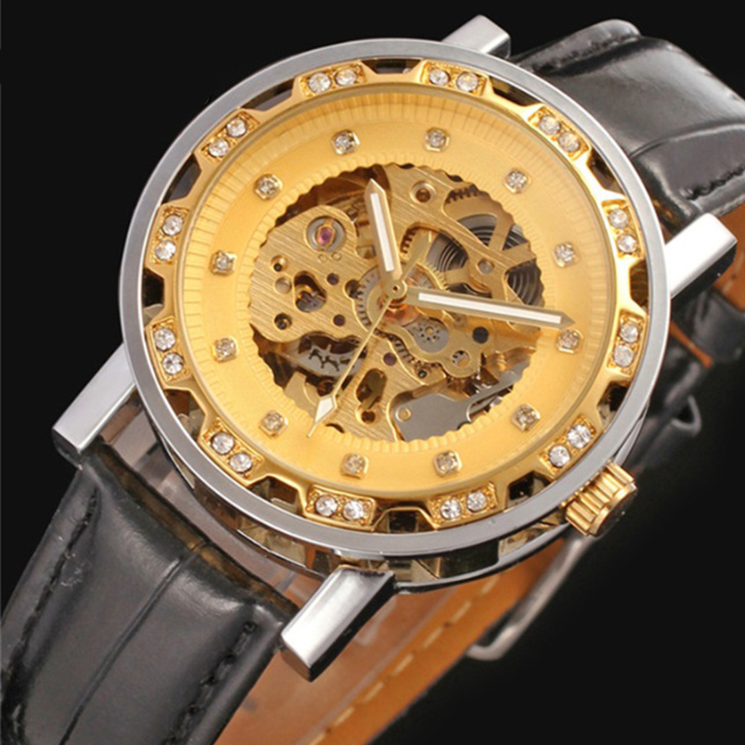 Механические часы Winner Simple Diamonds (gold)