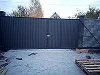 Откатные ворота 5000*2000мм с двусторонней зашивкой профлистом, фото 1