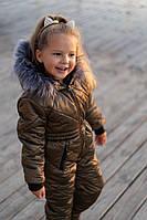 Детский лыжный зимний комбинезон Star малыш\ хаки (р.110-122), фото 1