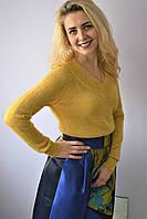 Свитер женский жёлтый  мохеровый с люрексом