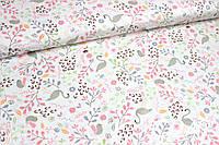Ткань сатин Фламинго с розовыми листьями, фото 1