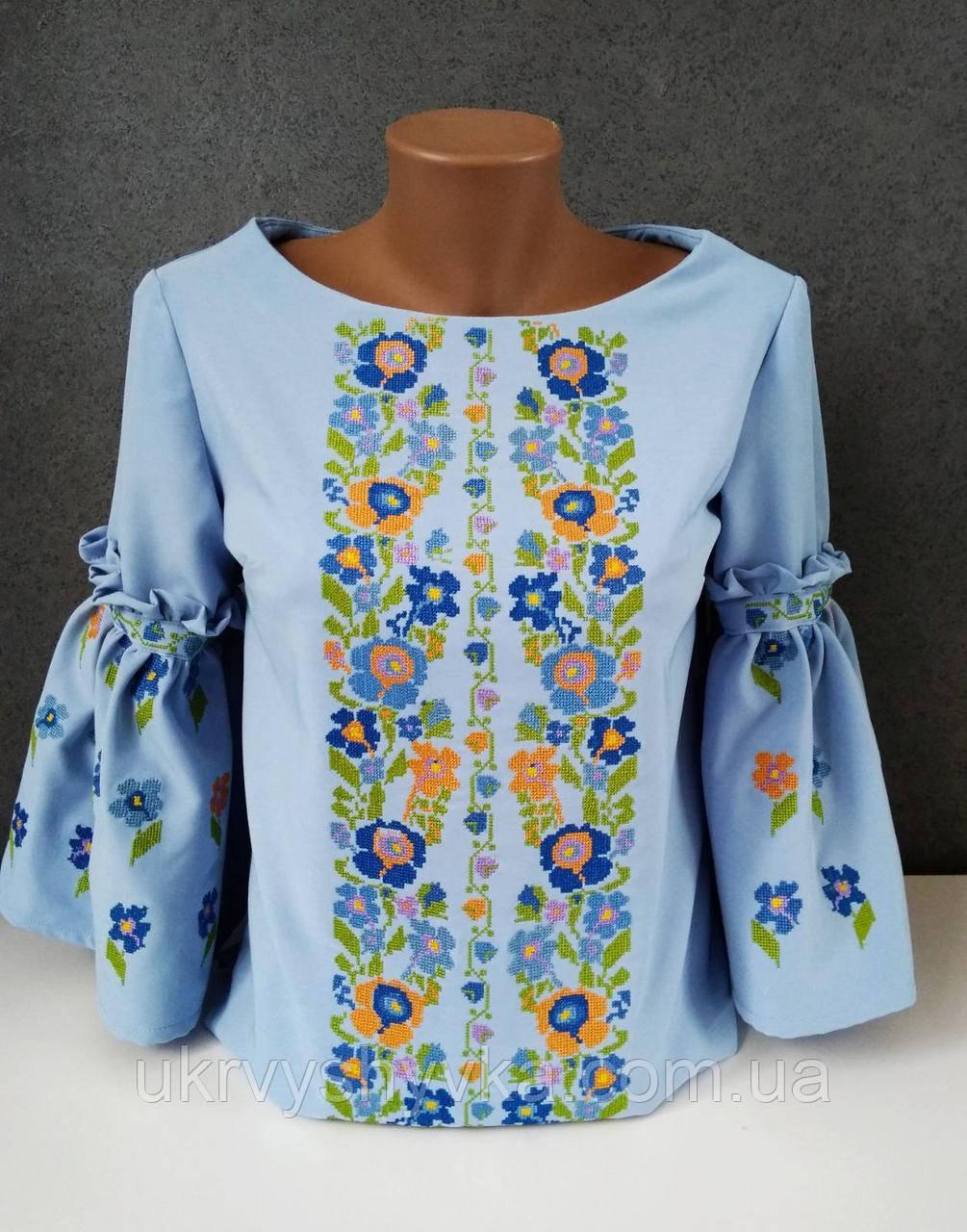 """Блузка з вишивкою """"Літня"""" голуба"""