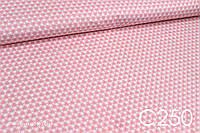 Ткань сатин Треугольники бело-розовые, фото 1