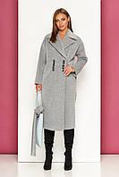 Демисезонное женское пальто GriSlav Р-35 (шерсть длинноворсовая серый) (размер 42)