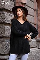 Женский вязаный свитер теплый оверсайз размер универсальный 42-48, фото 1
