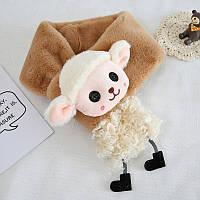 Меховой детский шарфик коричневый с овечкой