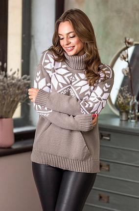 Теплый вязаный свитер «Снежка», фото 2