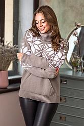 Теплый вязаный свитер «Снежка»