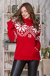 Новогодний  вязаный свитер «Снежка»