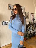 Тёплое вязаное платье-гольф миди, фото 2