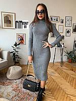 Тёплое вязаное платье-гольф миди, фото 1