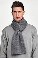 Зимний серый мужской шерстяной шарф TamiMore (ручная работа)