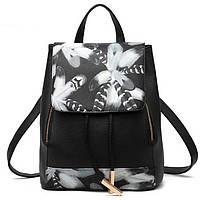 Женский городской рюкзак Ангелина черный с перьями