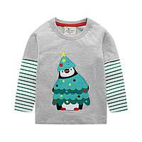 Детская кофта, серая. Новогодний пингвин на 98-128см.