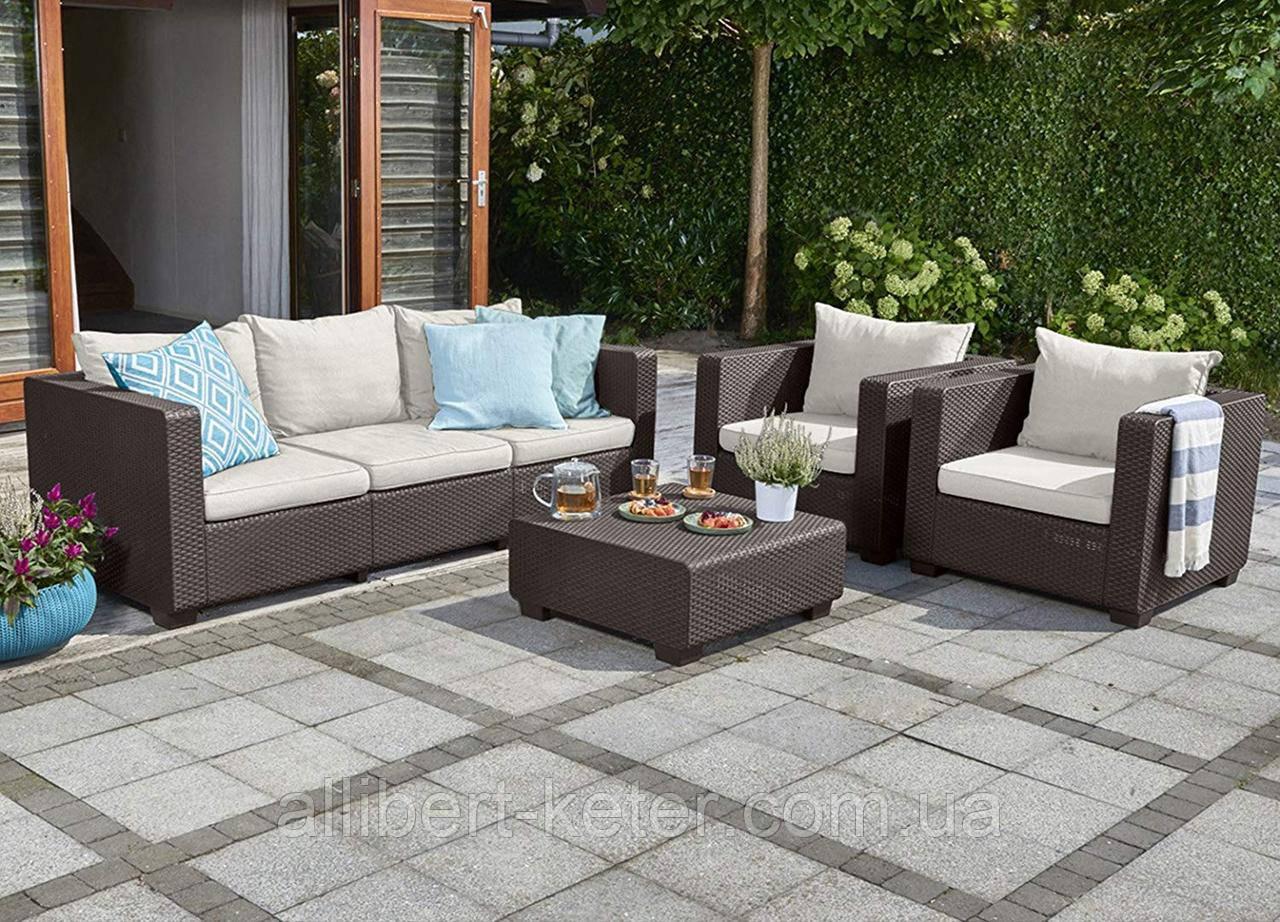 Набор садовой мебели Salta 3-Seater Sofa Set Brown ( коричневый ) из искусственного ротанга