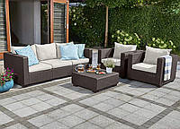 Набор садовой мебели Salta 3-Seater Sofa Set Brown ( коричневый ) из искусственного ротанга, фото 1