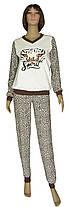 Пижама женская теплая трикотажная 19073 Леопардик молочно-коричневая