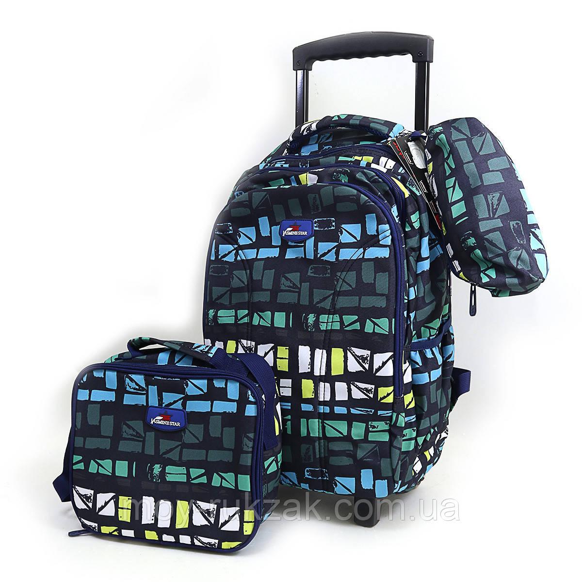 """Набор: детский тканевый чемодан-рюкзак на колесах+сумка+пенал """"Space"""" 520498"""