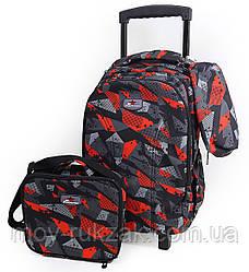 """Набор: детский тканевый чемодан-рюкзак на колесах+сумка+пенал """"Абстракция"""" 520515"""