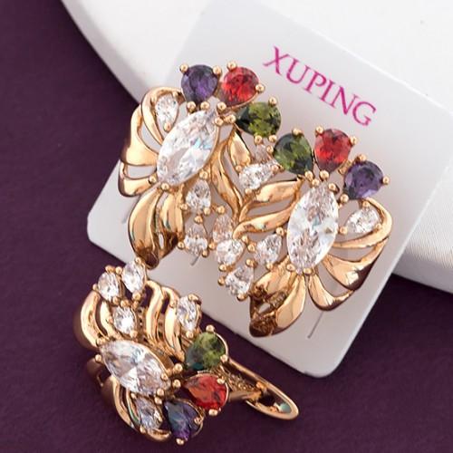Серьги Xuping 1.9см медзолото позолота 18К с разноцветным цирконием с832