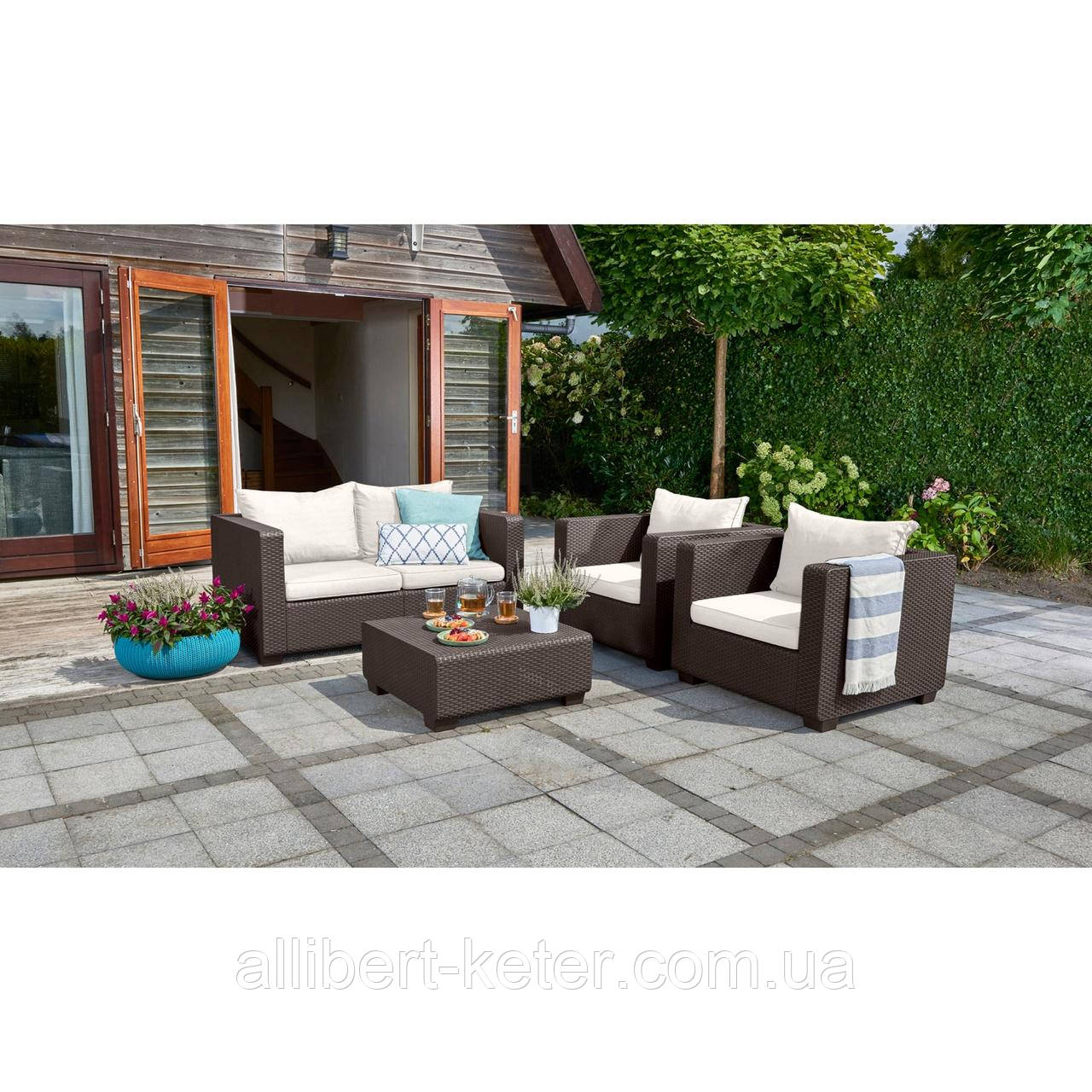 Набор садовой мебели Salta 2-Seater Lounge Set Brown ( коричневый ) из искусственного ротанга