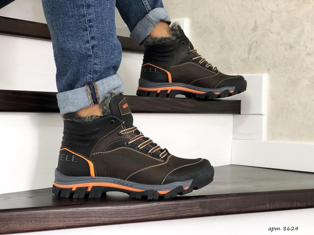 Кожаные зимние мужские ботинки Merrell, коричневые