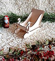 Сани новогодние для подарков 28 см, без покраски, декупажные.