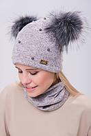 Зимняя шапка на флисе на девочку с бубоном