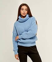 Голубой вязаный теплый свитер с объемным рукавом и горловиной 20% шерсть (универсальный (S/L))