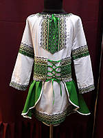 """Вышитый украинский костюм для девочки """"Зеленый хвостик"""""""