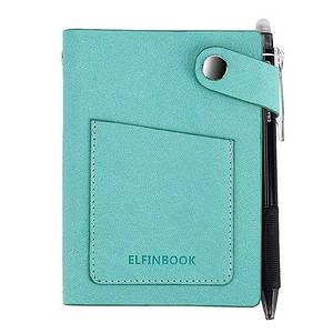 Смарт-блокнот Elfinbook Mini многоразовый умный блокнот в кожаной обложке. Синий