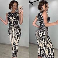 Красивое вечернее платье женское (черный беж)