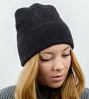 """Вязаная женская шапка-лопатка, """"Травка с отворотом"""", (Черный)"""