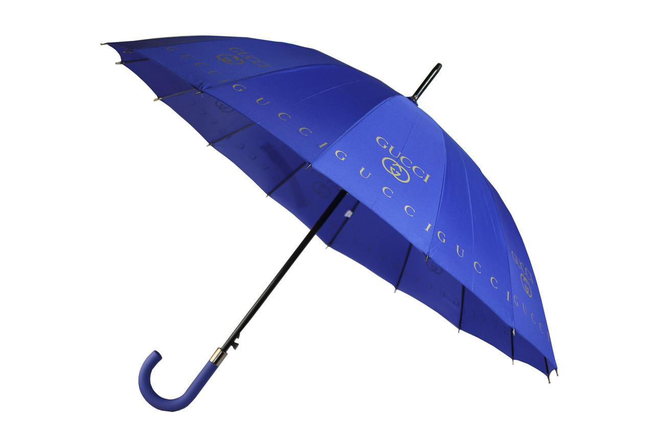Качественный женский зонт трость полуавтомат на 16 спиц с логотипами брендов MAX Komfort синий