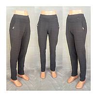 Женские леггинсы брюки клетка на байке больших размеров норма темно - серые  52