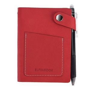 Смарт-блокнот Elfinbook Mini многоразовый умный блокнот в кожаной обложке. Красный