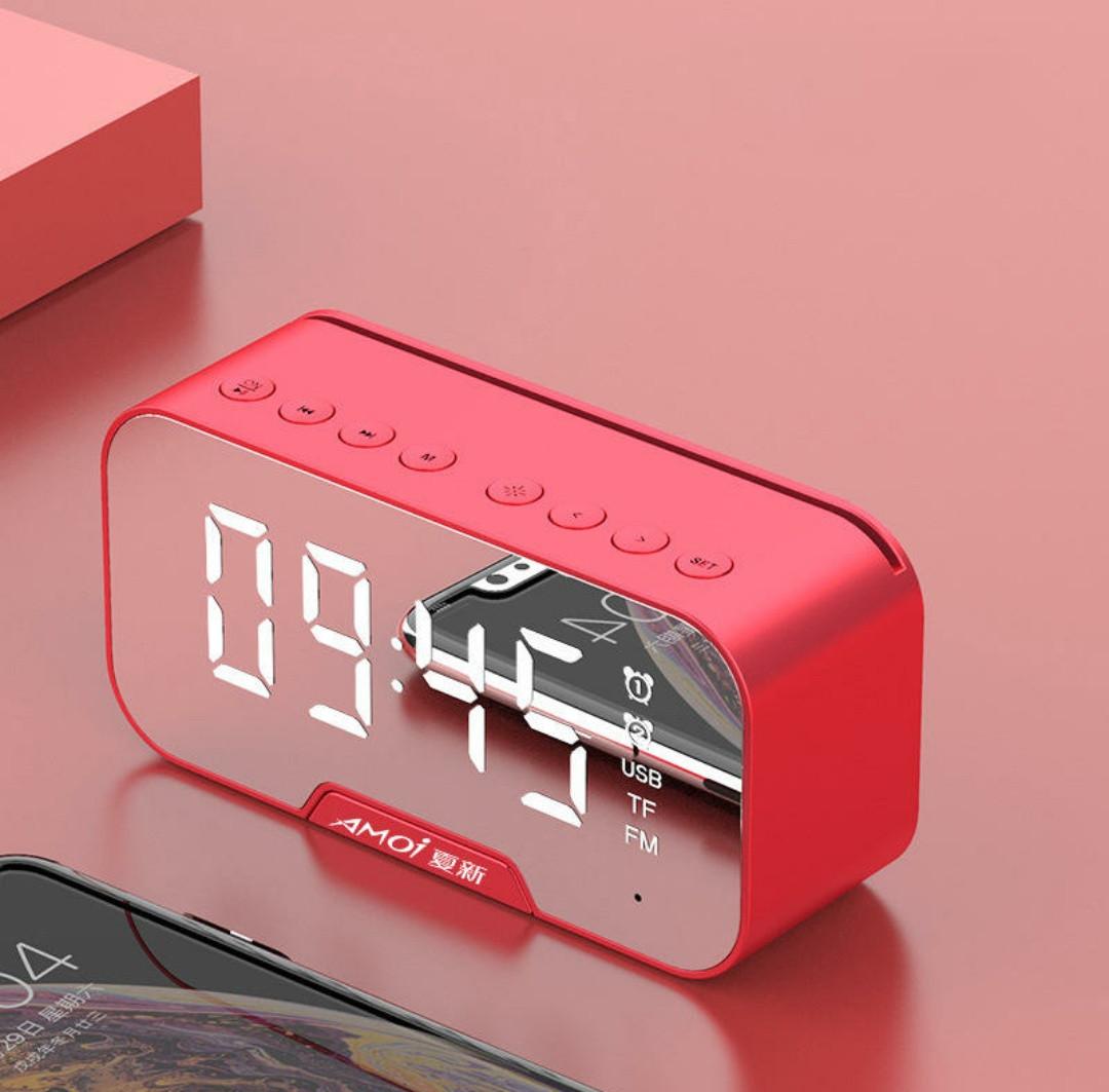 AMOI G5 часы - колонка, радио, термометр, будильник, плеер, зеркало, подставка для смартфона. hands free AUX