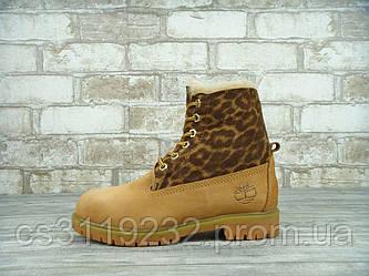 Жіночі зимові черевики Timberland (хутро) (руді)