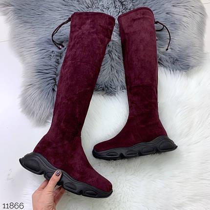 Сапоги зимние женские бордовые, фото 2