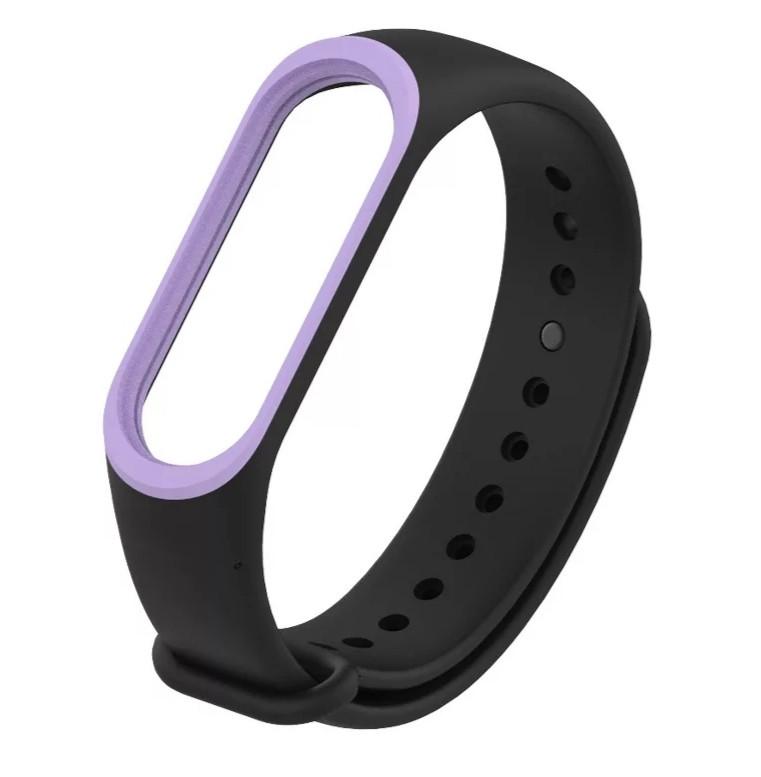 Силиконовый двухцветный чёрный с фиолетовой полоской ремешок на фитнес трекер Xiaomi mi band 4 / 3 браслет