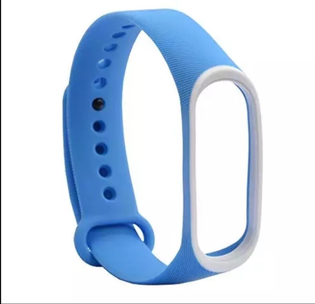 Силиконовый двухцветный синий с белой полоской ремешок на фитнес трекер Xiaomi mi band 4 / 3 браслет